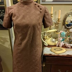 Vintage 60s Brown Chinese Turtleneck Dress